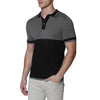 [parke & ronen] Colorblock Knit Polo - black/grey (Thumbnail)