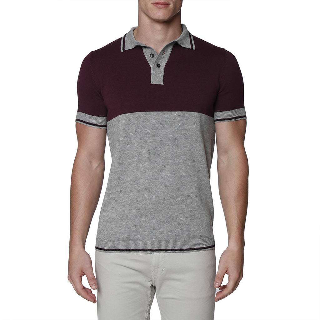 [parke & ronen] Colorblock Knit Polo - grey/aubergine