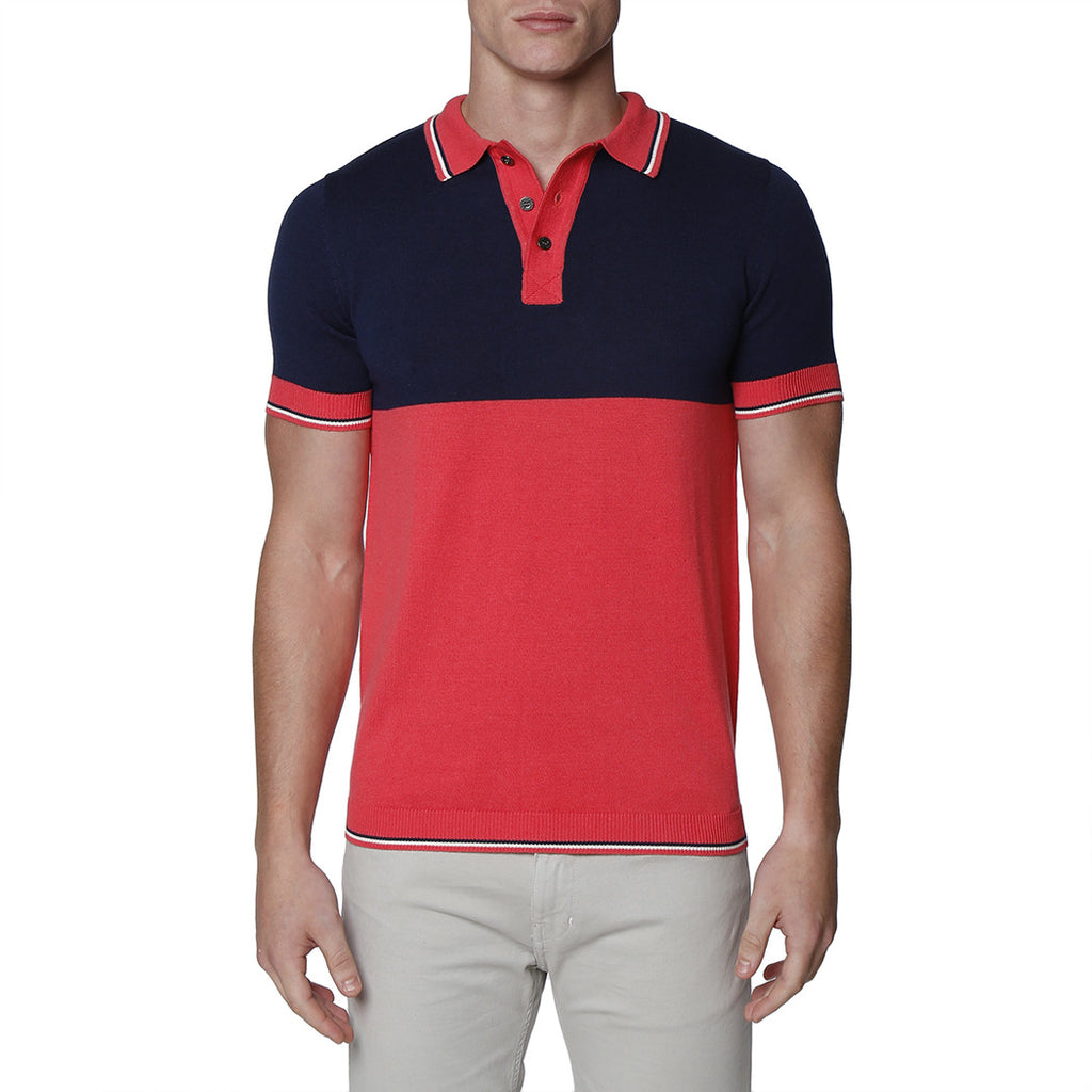[parke & ronen] Colorblock Knit Polo - salmon/navy