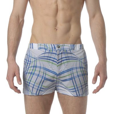"Wave Length Grey 2"" Angeleno Stretch Swim Trunk - parke & ronen"