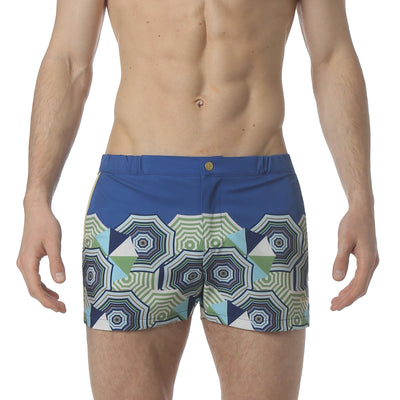 "Beach Club Blue 2"" Angeleno Stretch Swim Trunk - parke & ronen"