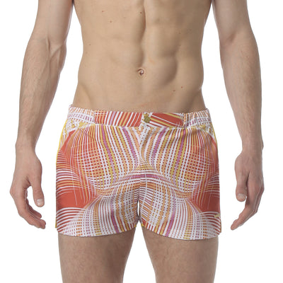"Wave Length Orange 2"" Angeleno Stretch Swim Trunk - parke & ronen"