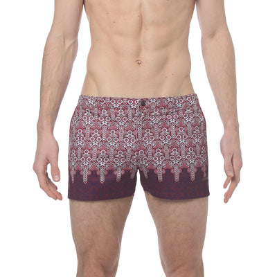 "Sunflower Crimson 2"" Angeleno Print Stretch - parke & ronen"