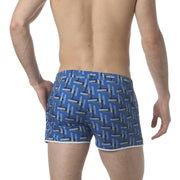 "Cross Hatch Blue 2"" Angeleno Stretch Swim Trunk - parke & ronen"