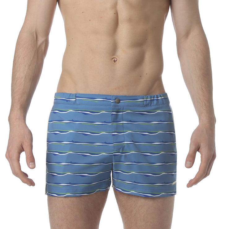 "Liquid Stripe Blue 2"" Angeleno Stretch Swim Trunk - parke & ronen"