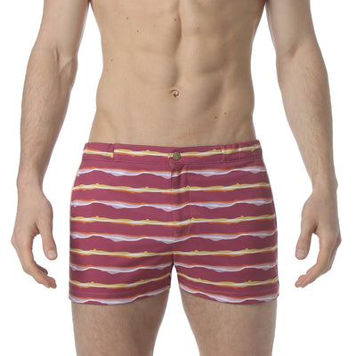 "Liquid Stripe Pink 2"" Angeleno Stretch Swim Trunk - parke & ronen"