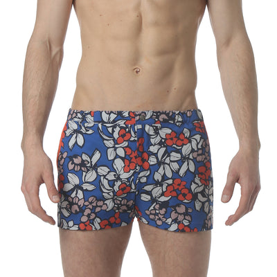 "Stencil Floral Blue 2"" Angeleno Stretch Swim Trunk - parke & ronen"