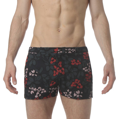 "Stencil Floral Navy 2"" Angeleno Stretch Swim Trunk - parke & ronen"