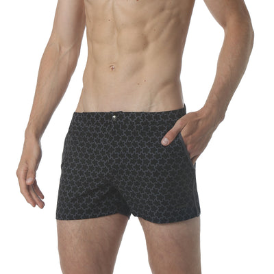 "EXCLUSIVE- Stella Black/Grey 2"" Print Angeleno Stretch - parke & ronen"