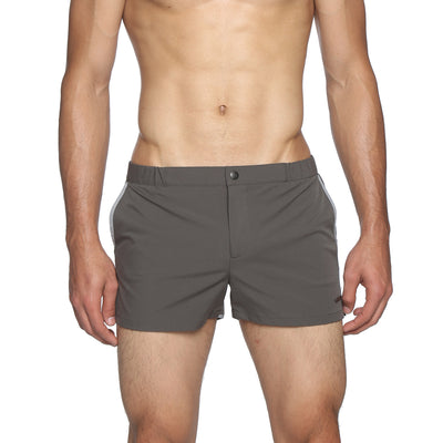 "Charcoal 2"" Angeleno Solid Stretch Swim Trunk - parke & ronen"