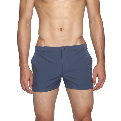 "Mid Blue 2"" Angeleno Solid Stretch Swim Trunk - parke & ronen"