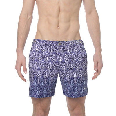"Sunflower Blue 6"" Catalonia Print Stretch - parke & ronen"