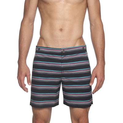 "6"" Catalonia Stretch Swim Short, Ventura Stripe Print - parke & ronen"
