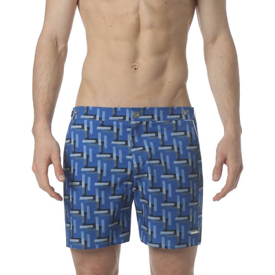 "Cross Hatch Blue 6"" Catalonia Stretch Swim Short - parke & ronen"
