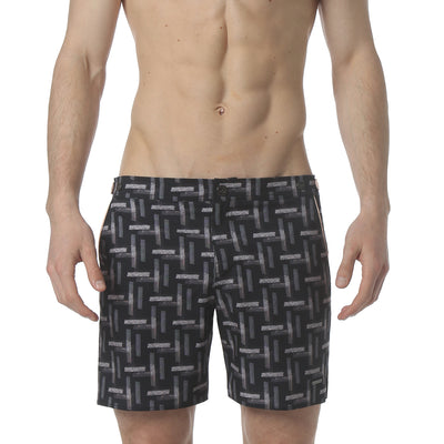 "Cross Hatch Navy 6"" Catalonia Stretch Swim Short - parke & ronen"