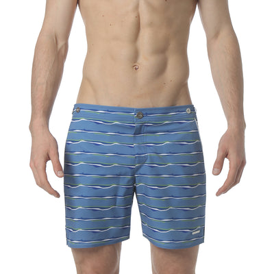 "Liquid Stripe Blue 6"" Catalonia Stretch Swim Short - parke & ronen"