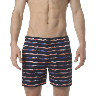 "Liquid Stripe Navy 6"" Catalonia Stretch Swim Short - parke & ronen"