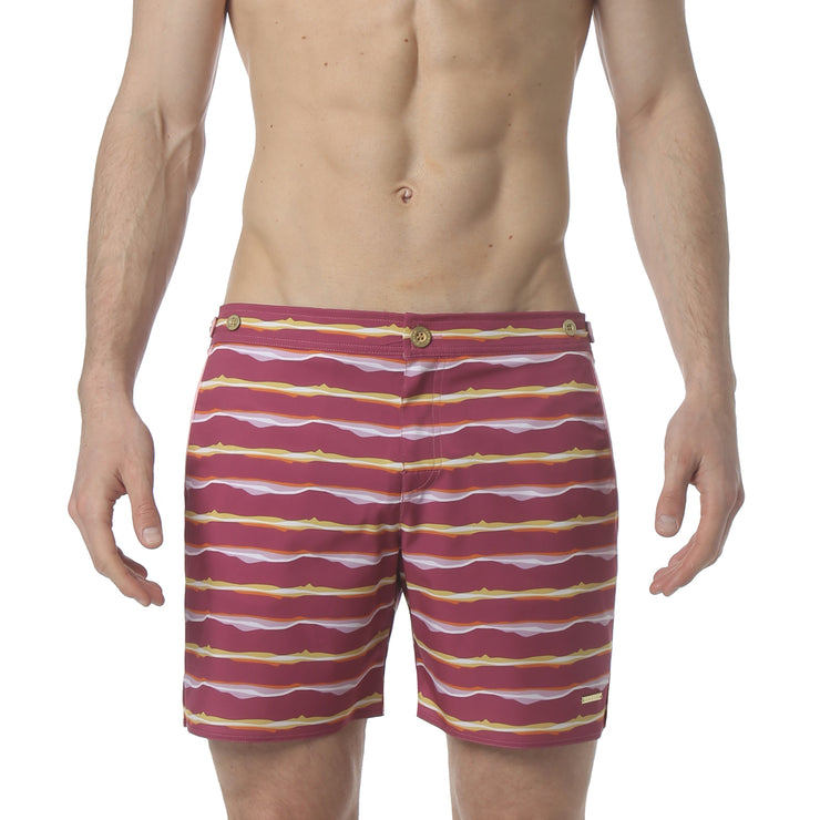 "Liquid Stripe Pink 6"" Catalonia Stretch Swim Short - parke & ronen"