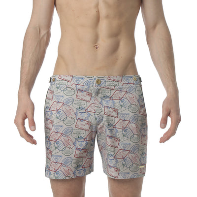 "Passport Sand 6"" Catalonia Stretch Swim Short, Passport Print - parke & ronen"