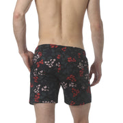 "Stencil Floral Navy 6"" Catalonia Stretch Swim Short - parke & ronen"