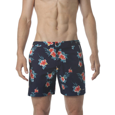 "EXCLUSIVE- Navy Hibiscus 6"" Catalonia Print Stretch - parke & ronen"