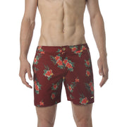 "EXCLUSIVE- Spice Red Hibiscus 6"" Catalonia Print Stretch - parke & ronen"