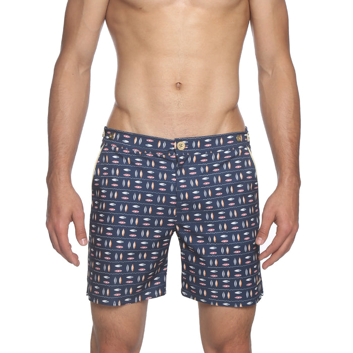 "NEW- 6"" Catalonia Stretch Swim Short, Surfrider Print"