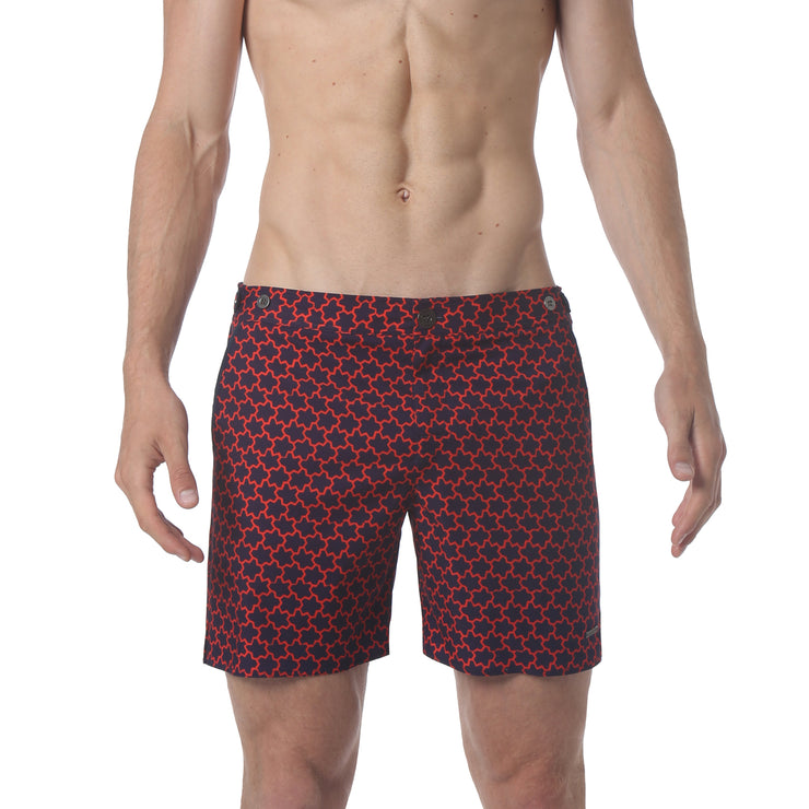 "EXCLUSIVE- Stella Navy/Red 6"" Print Catalonia Stretch - parke & ronen"