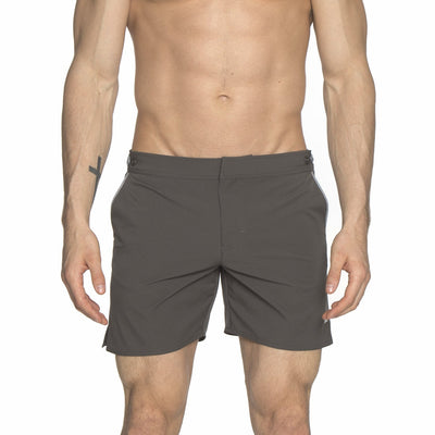 "Charcoal/Gray 6"" Catalonia Solid Stretch Swim Short - parke & ronen"
