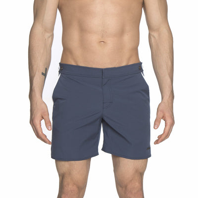 "Mid Blue/White 6"" Catalonia Solid Stretch Swim Short - parke & ronen"