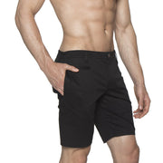 Black Solid Stretch Madrid Shorts - parke & ronen