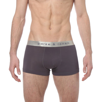 Grey Solid Low-Rise Trunk - parke & ronen
