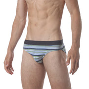 Microfiber Low Brief - Polygraph Stripe Blue - parke & ronen