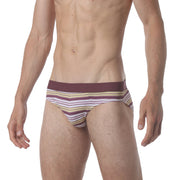 Microfiber Low Brief - Polygraph Stripe Pink - parke & ronen