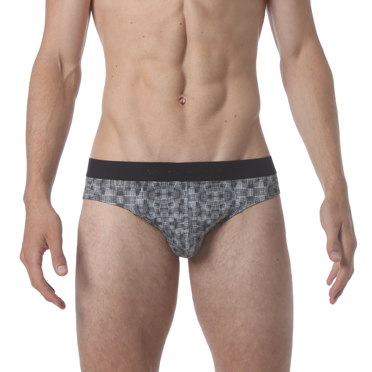 NEW - Microfiber Low Brief - Warp Print Black - parke & ronen