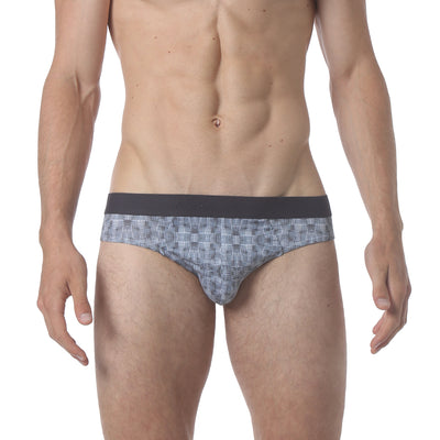 NEW - Microfiber Low Brief - Warp Print Blue - parke & ronen