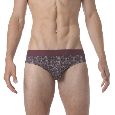 NEW - Microfiber Low Brief - Warp Print Pink - parke & ronen