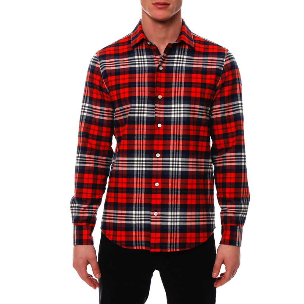 [parke & ronen] Plaid Flannel Long Sleeve Shirt - red