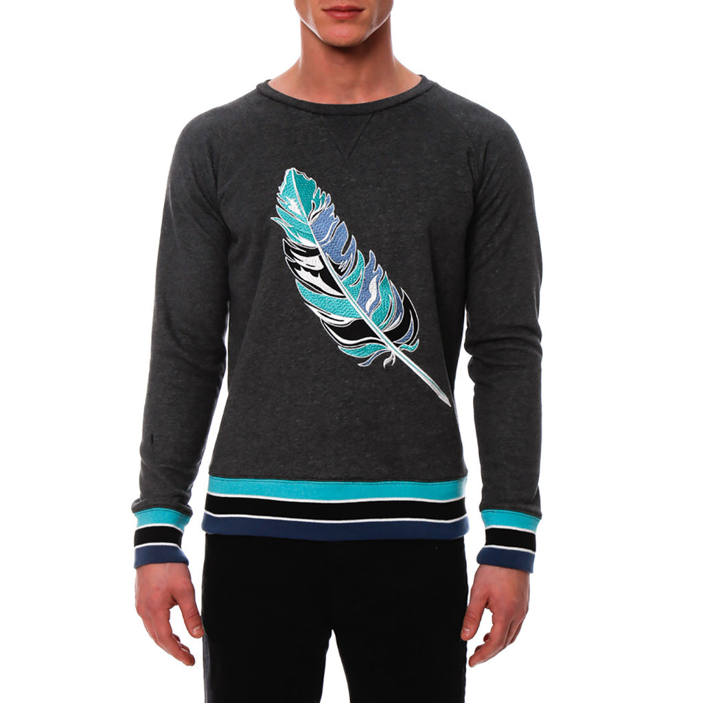 [parke & ronen] Feather Embroidered Sweater - grey