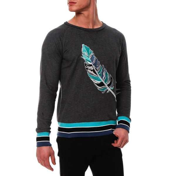 Feather Embroidered Sweater