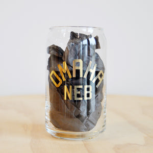 Omaha Neb Beer Can Glass