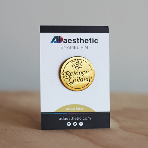 AD Aesthetic Science is Golden Enamel Lapel Pin