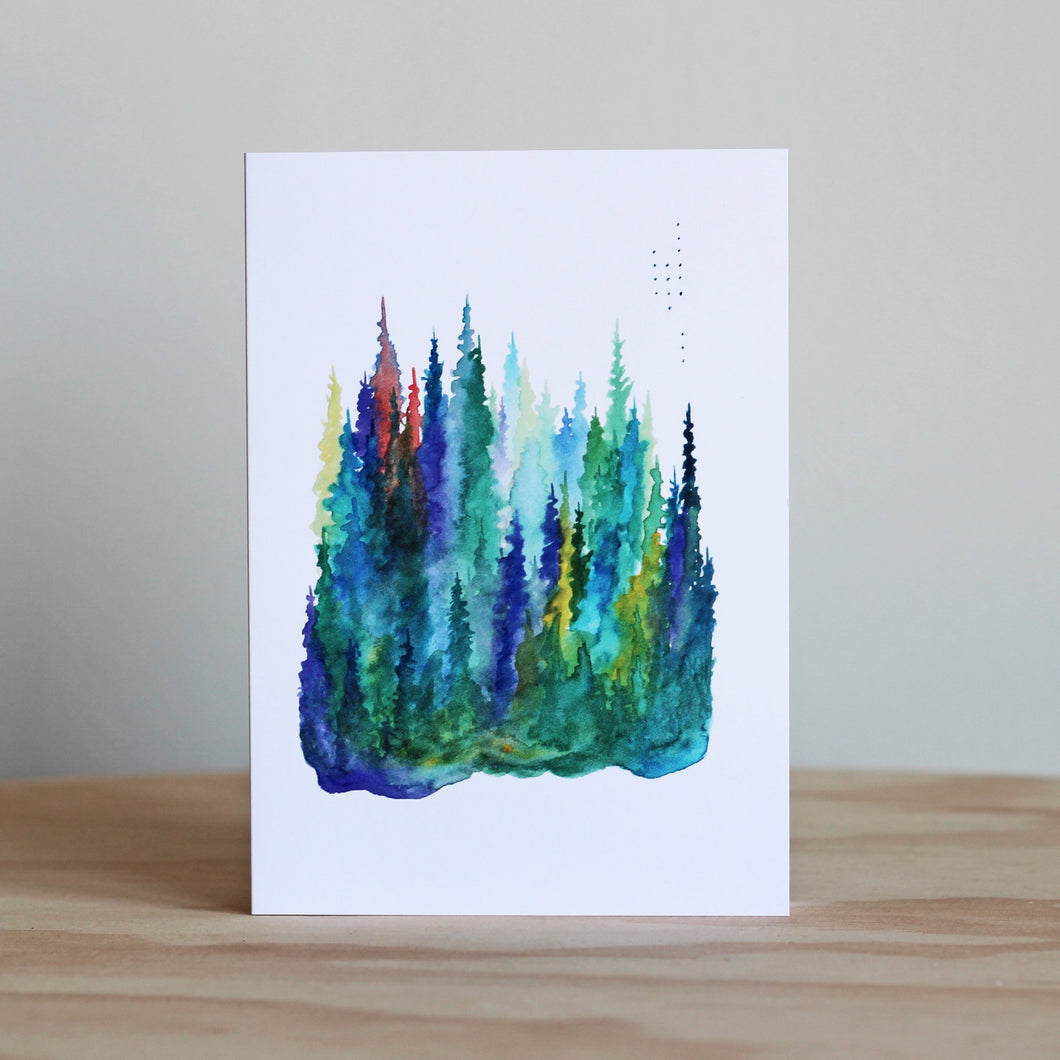 Stubborn Dog Artwork Evening Pines with Dots Card