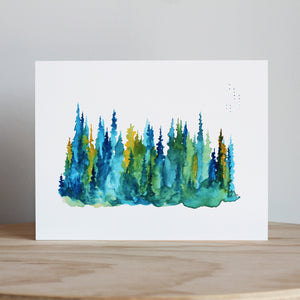 Stubborn Dog Artwork Treeline Pines Print