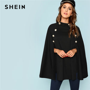 8013ac51364 SHEIN Black Highstreet Office Lady Double Button Mock Poncho Solid Elegant  Coat 2018 New Autumn Women Workwear Outerwear Clothes