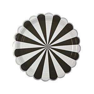 Black Stripes Large Plates (Pack of 8)