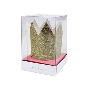 Mini Gold Glittered Crowns (Pack of 8)