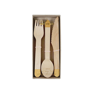 Gold Wooden Cutlery (Set of 24)