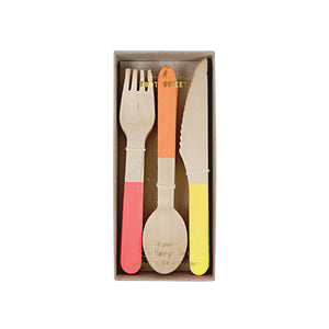 Neon Wooden Cutlery (Set of 24)