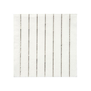Silver Striped Small Napkins (Pack of 16)